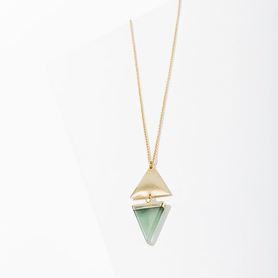 Larissa Loden Golden Brass Green Aventurine Echo Necklace