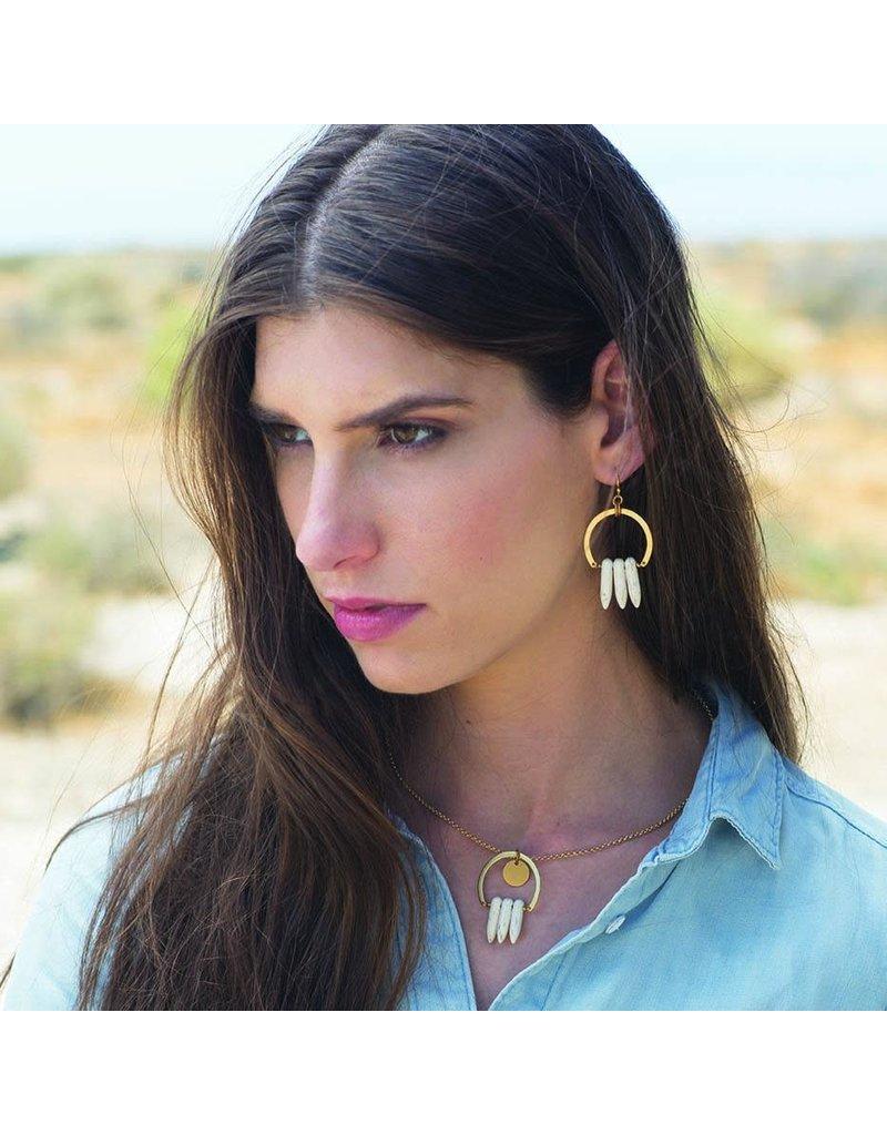 Larissa Loden White Spike Atum Golden Brass Earrings