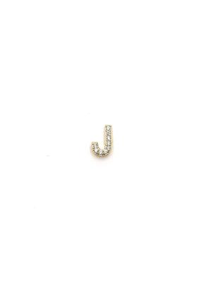 iiShii Designs Sterling Silver Gold Plated Single J Initial CZ Stud