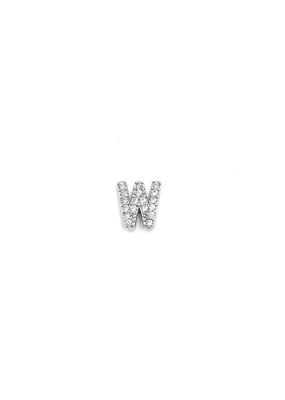iiShii Designs Sterling Silver Single W Initial CZ Stud