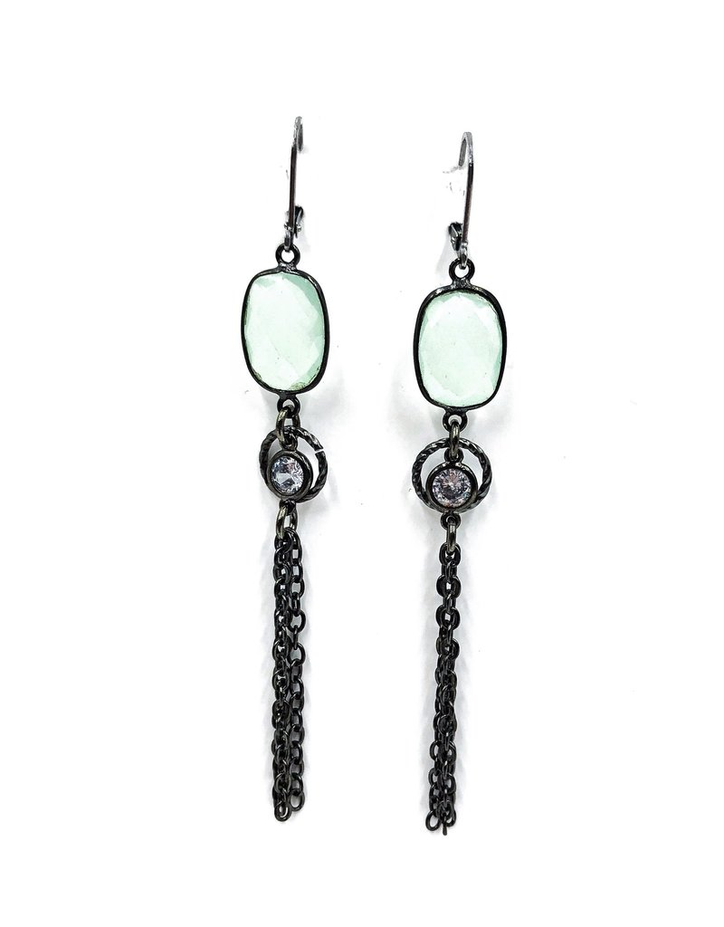 Vb Co Designs Chalcedony Cz Tel French Wire Earrings