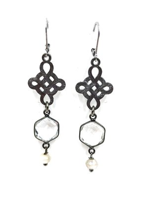 VB & Co. Designs Celtic Cross & Clear Hexagon Crystal French Wire Earrings