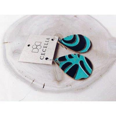 Cecelia Cutie Floral Turquoise Teardrop Leather Earrings