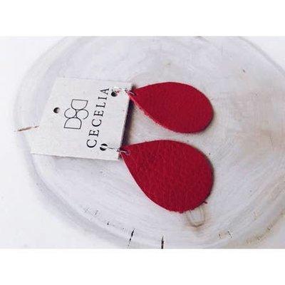 Cecelia Cutie Candy Apple Red Teardrop Leather Earrings