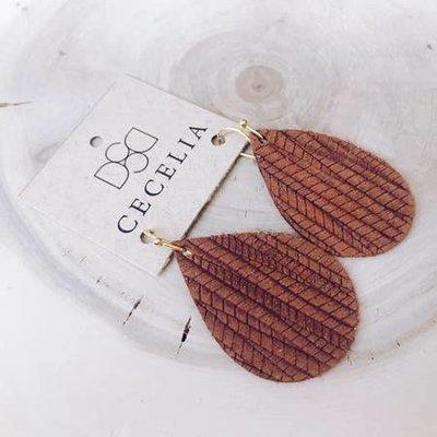Cecelia Small Natural Embossed Teardrop Leather Earrings