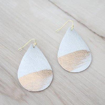 Cecelia Painted Silver Splash Leather Earrings