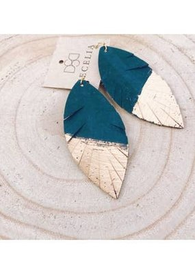 Cecelia Painted Turquoise Cork Leather Earrings