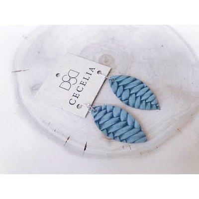 Cecelia Cutie Braided Seafoam Feather Leather Earrings