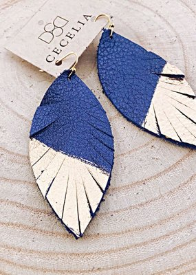Cecelia Painted Navy Shimmer Leather Earrings