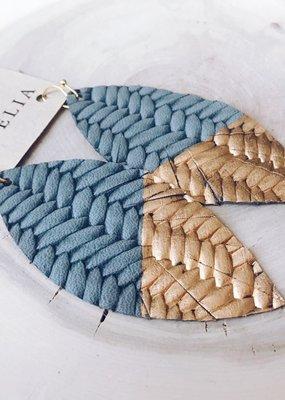 Cecelia Painted Grey Braided Leather Earrings