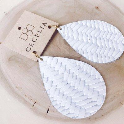Cecelia Large White Braided Leather Teardrop Earrings