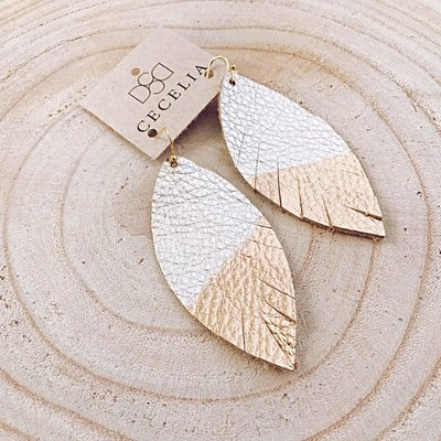 Cecelia Painted Champagne Leather Earrings