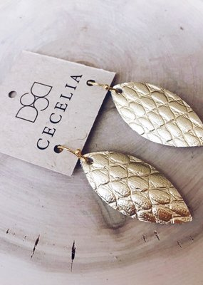 Cecelia Small Gold Snakeskin Feather Leather Earrings