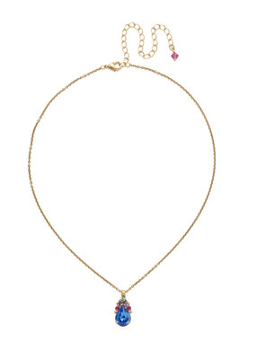Sorrelli Tear Drop Antique Gold Necklace in Wildflower