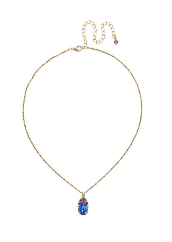Sorrelli Tear Drop Antique Gold Necklace in Wildflower