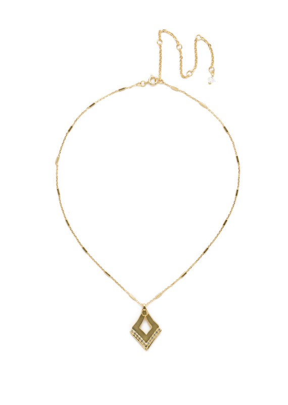 Sorrelli Tri To Love Necklace in Clear Crystal