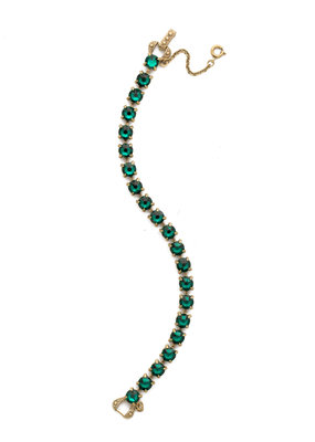 Sorrelli Repeating Round Crystal Line Bracelet in Emerald
