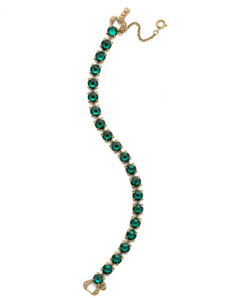 Sorrelli Repeating Round Crystal Line Bracelet in Emerald