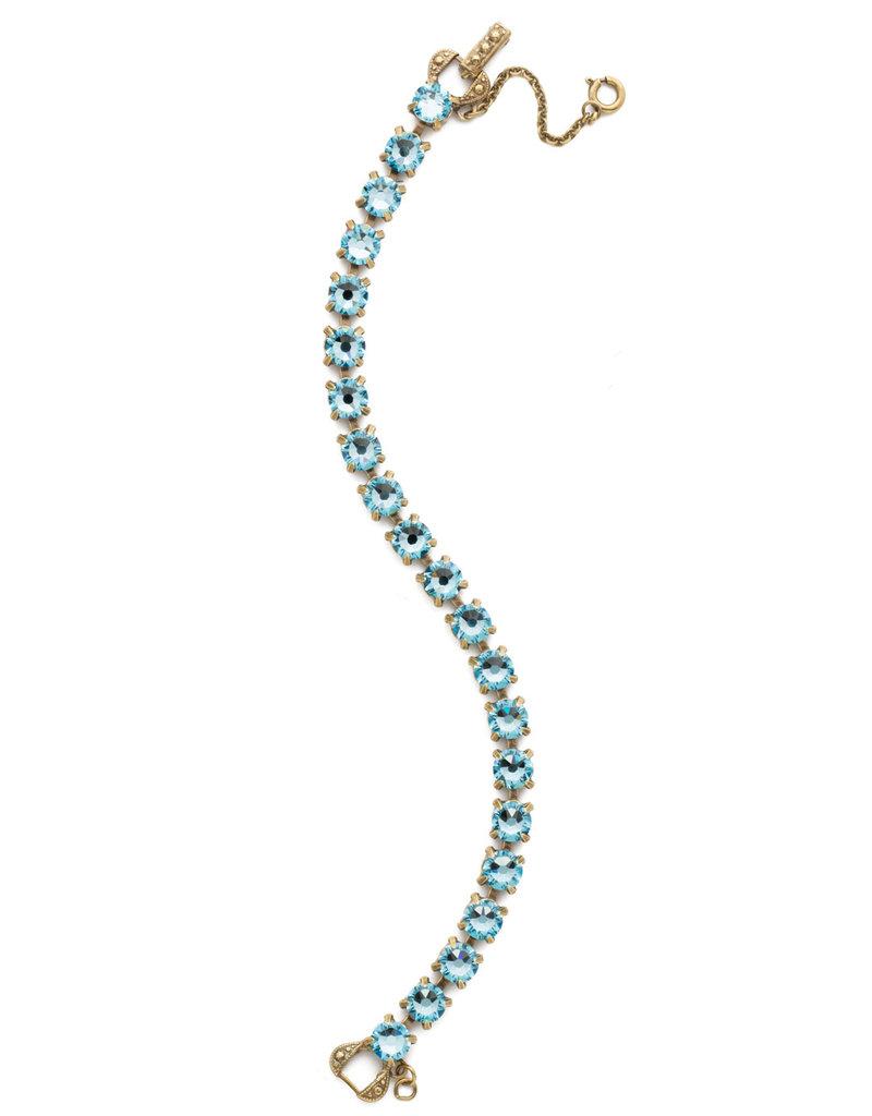 Sorrelli Repeating Round Crystal Line Bracelet in Aquamarine