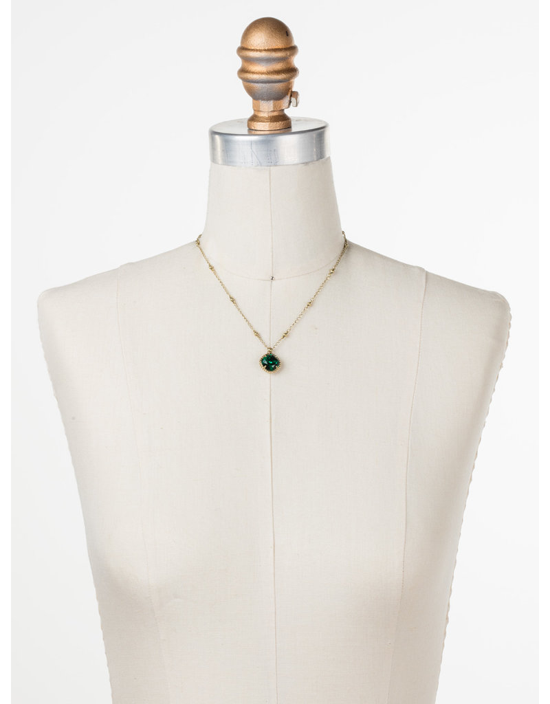 Sorrelli Cushion-Cut Solitaire Necklace in Emerald
