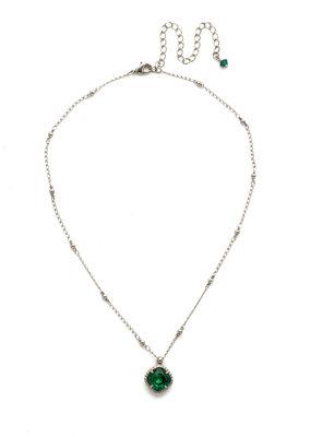 Sorrelli Cushion-Cut Solitaire Necklace in Emerald