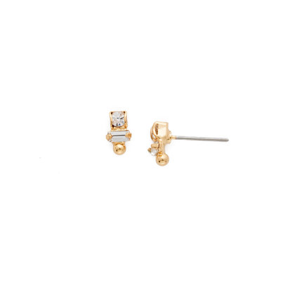 Sorrelli Divided Earring in Bright Gold Clear Crystal
