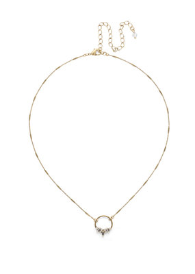Sorrelli Haute Hammered Necklace in Antique Gold Clear Crystal