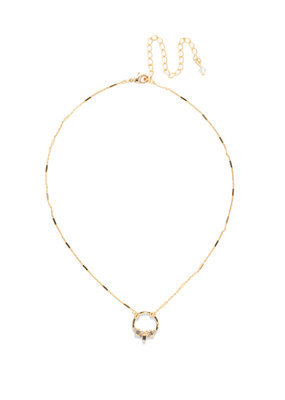 Sorrelli Haute Hammered Necklace in Bright Gold Clear Crystal