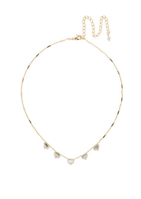 Sorrelli Shine and Dash Necklace in Bright Gold Clear Crystal