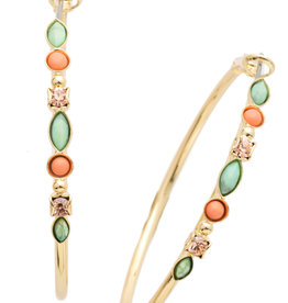 Sorrelli Large Mixed Media Hoop Earring in Bright Gold Mango Tango