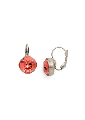 Sorrelli Cushion Cut French Wire Earrings - Sorrelli Essentials in Antique Silver Coral