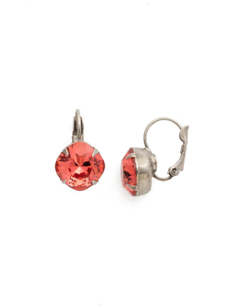 Sorrelli Cushion Cut French Wire Earrings - Sorrelli Essentials in Antique Silver Coral