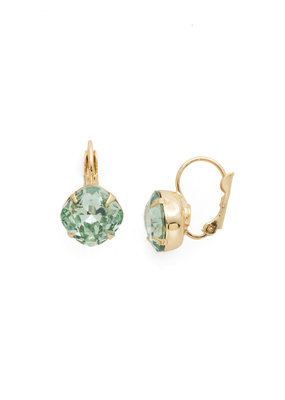 Sorrelli Cushion Cut French Wire Earrings - Sorrelli Essentials in Bright Gold Mint