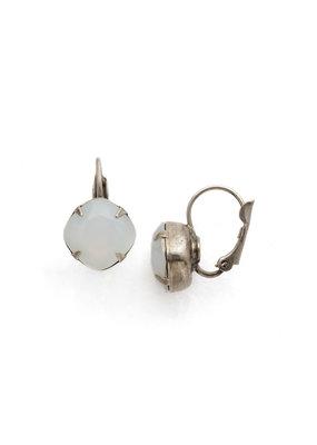 Sorrelli Cushion Cut French Wire Earrings - Sorrelli Essentials in Antique Silver White Opal