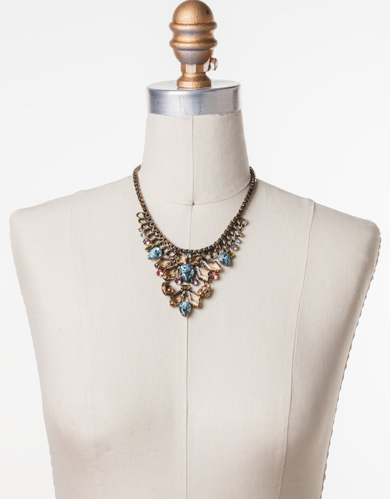 Sorrelli Cascading Crystals Statement Necklace in Rustic Bloom