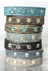 KBD Studio Turquoise Crackle Stacker Cuff w Rhinestones