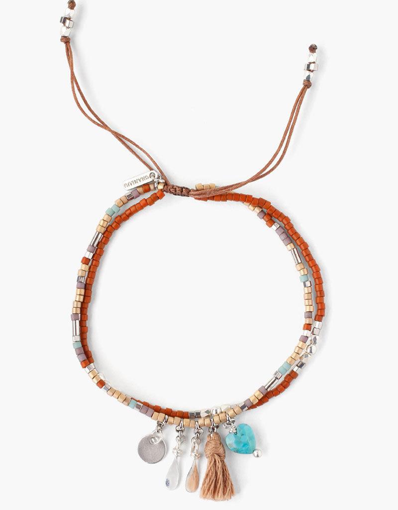CHAN LUU Seafoam Mix Charm Pull-Tie Bracelet