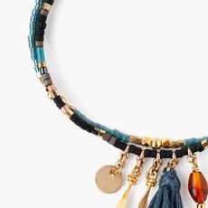 CHAN LUU Black Mix Multi-Strand Seed Beads Pull-Tie Bracelet