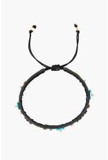 CHAN LUU Black Beaded Pull-Tie Bracelet