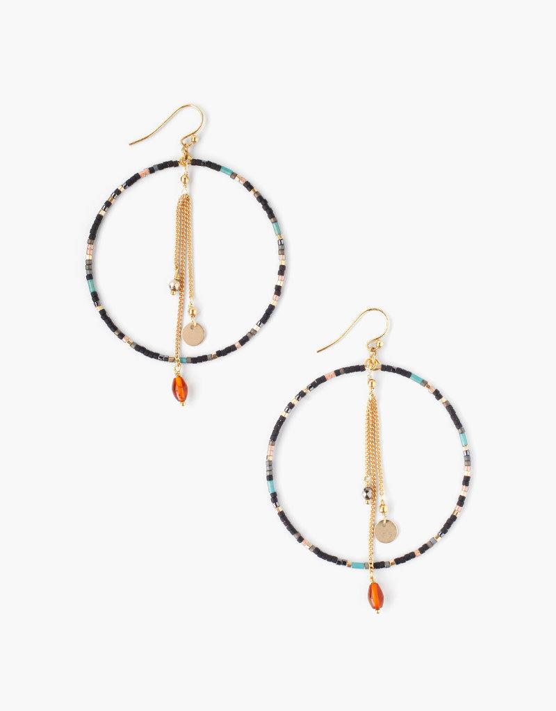 CHAN LUU Black Mix Hoop Earrings
