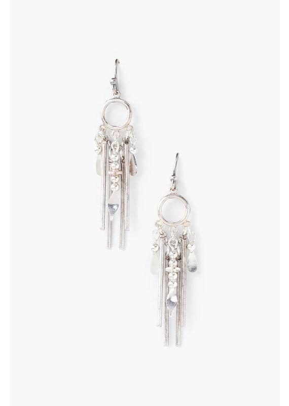 CHAN LUU Silver Multi Drop Earrings