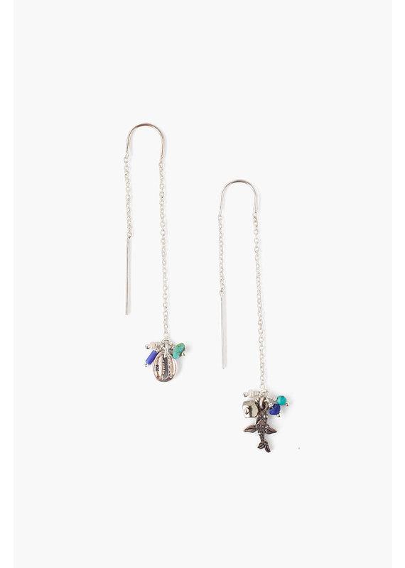 CHAN LUU Blue Mix Threader Earrings