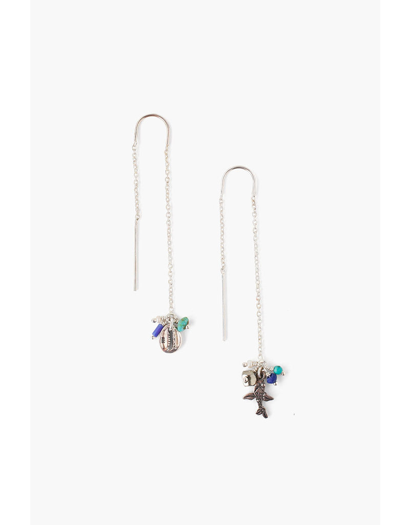 CHAN LUU Blue Mix Threader Earrings