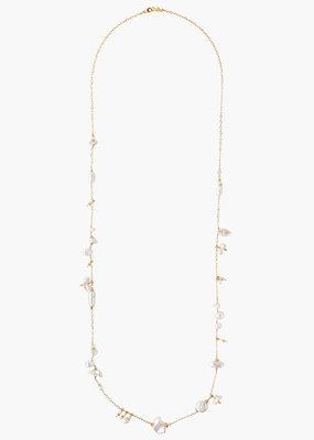 CHAN LUU White Pearl Mix Santa Maria Long Necklace