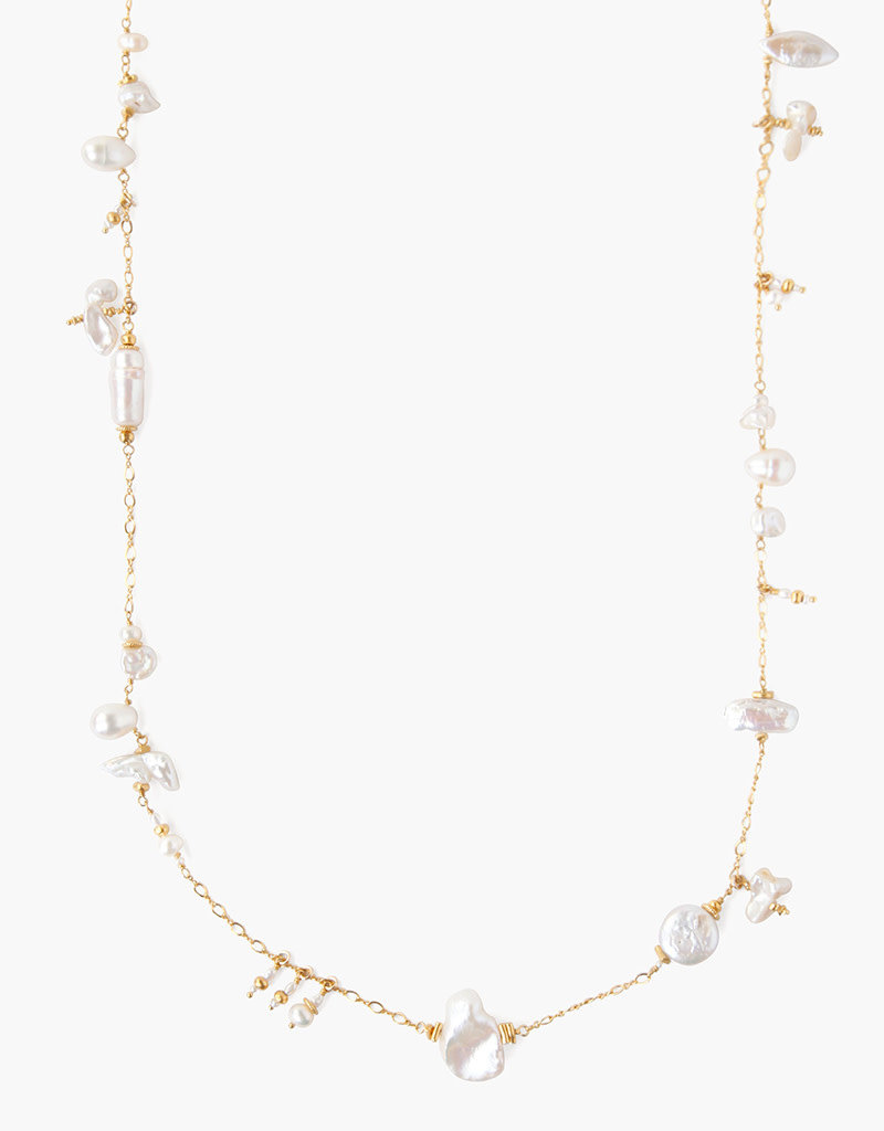 CHAN LUU White Pearl Mix Santa Maria Long Necklace
