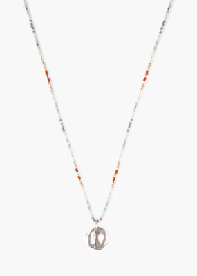 CHAN LUU Seafoam Mix Seed Bead Charm Necklace