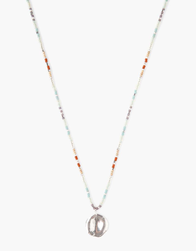 CHAN LUU Seafoam Mix Seed Bead Charm Necklace