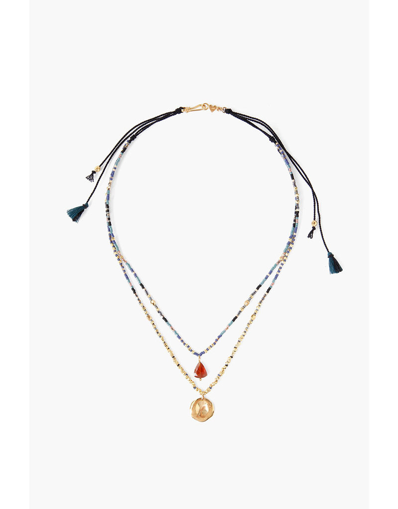 CHAN LUU Black Mix Layer Pull Tie Necklace