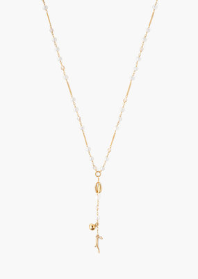 CHAN LUU White Pearl Mix Santa Maria Y Necklace
