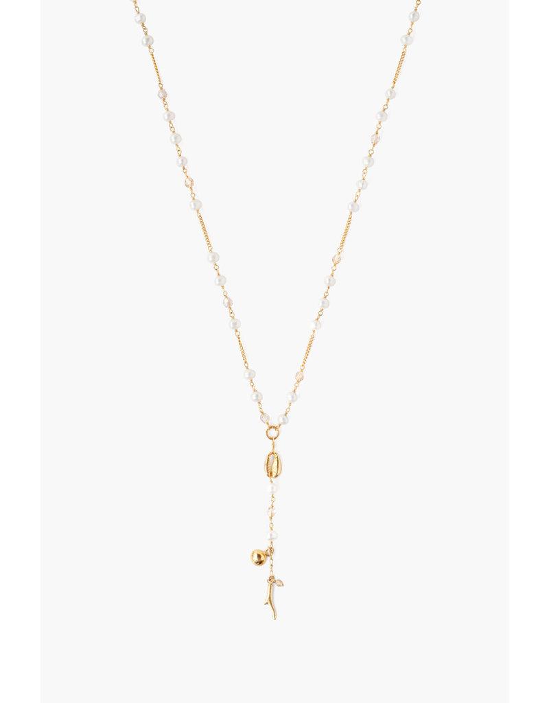 CHAN LUU White Pearl Mix Santa Maria Y Necklace